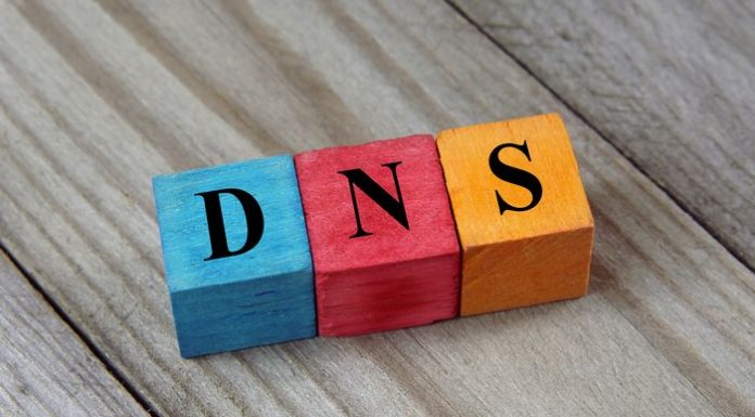 DNS (Domain Name System) acronym on colorful wooden cubes