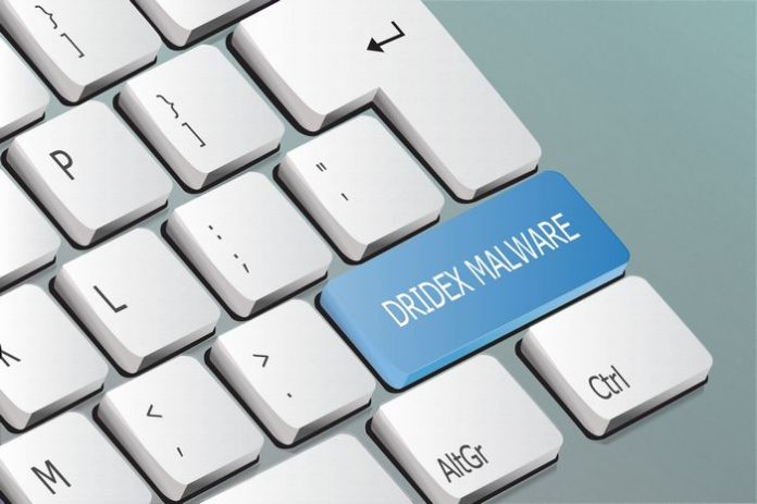 Dridex malware written on the keyboard button